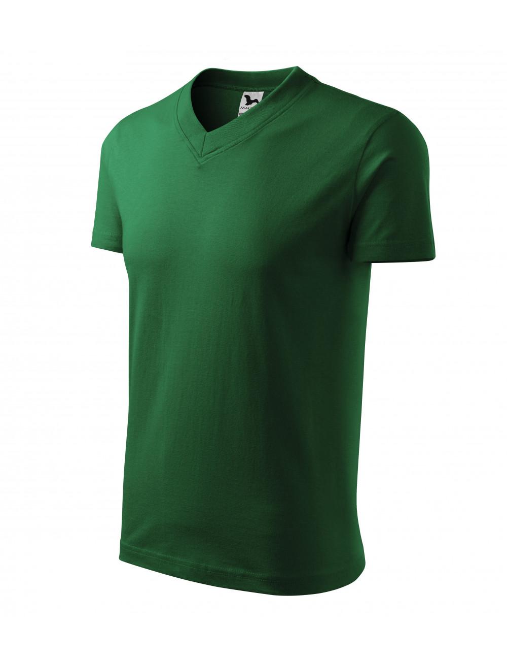 Adler MALFINI Koszulka unisex V-neck 102 zieleń butelkowa