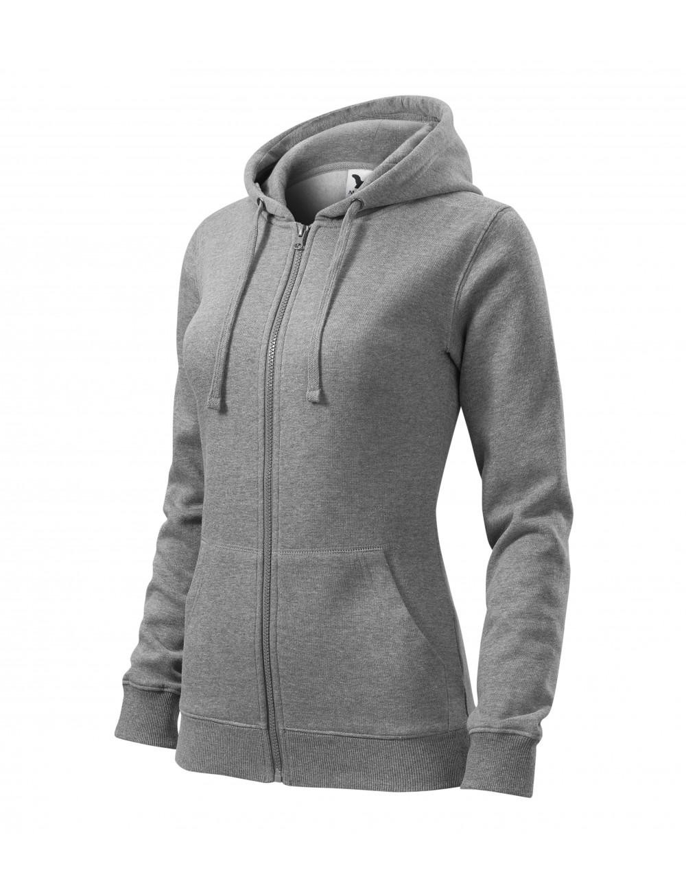 Adler MALFINI Bluza damska Trendy Zipper 411 ciemnoszary melanż