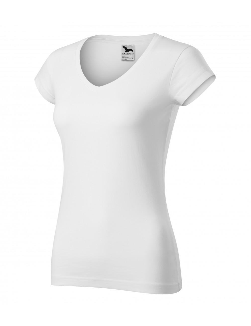 Adler MALFINI Koszulka damska Fit V-neck 162 biały