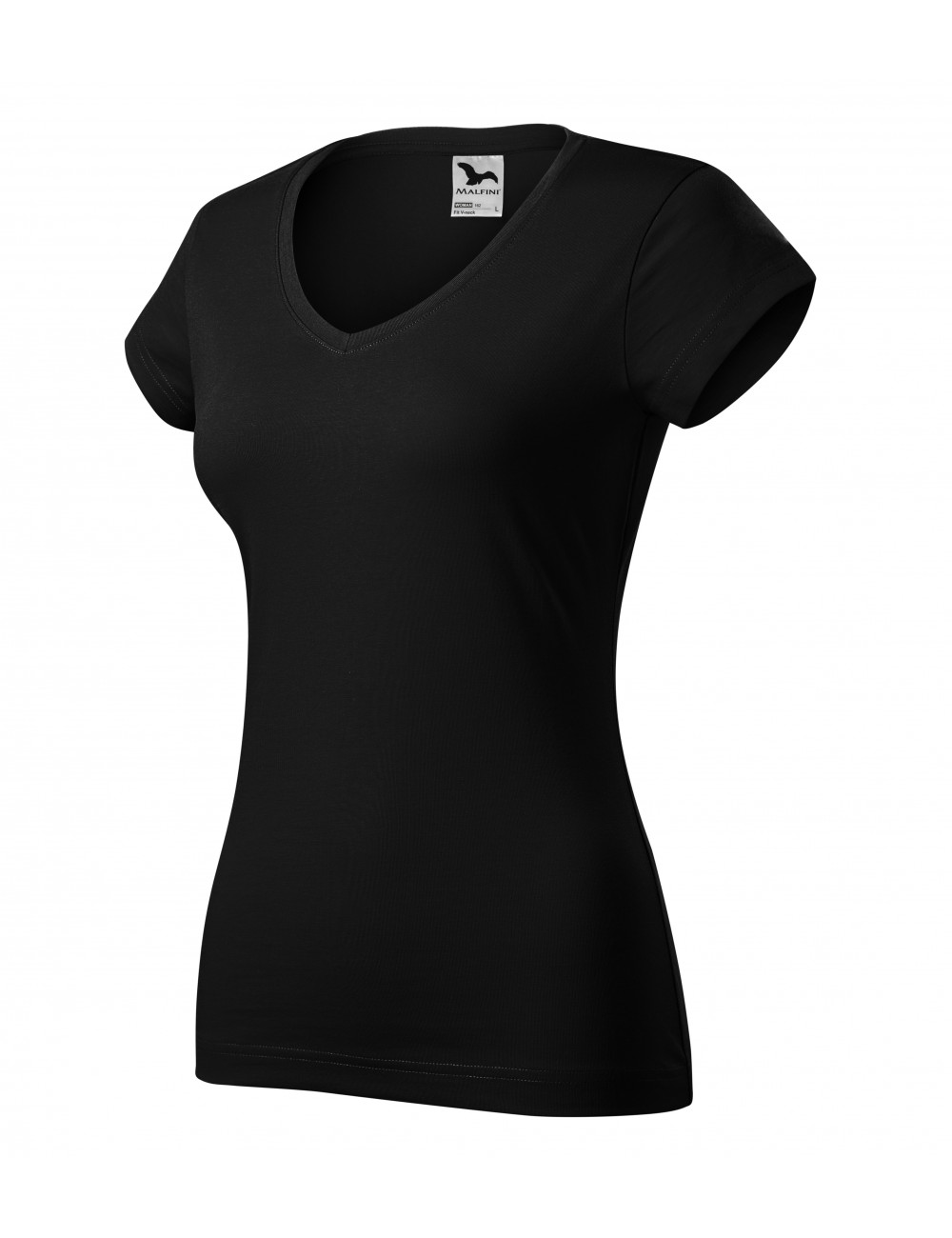 Adler MALFINI Koszulka damska Fit V-neck 162 czarny