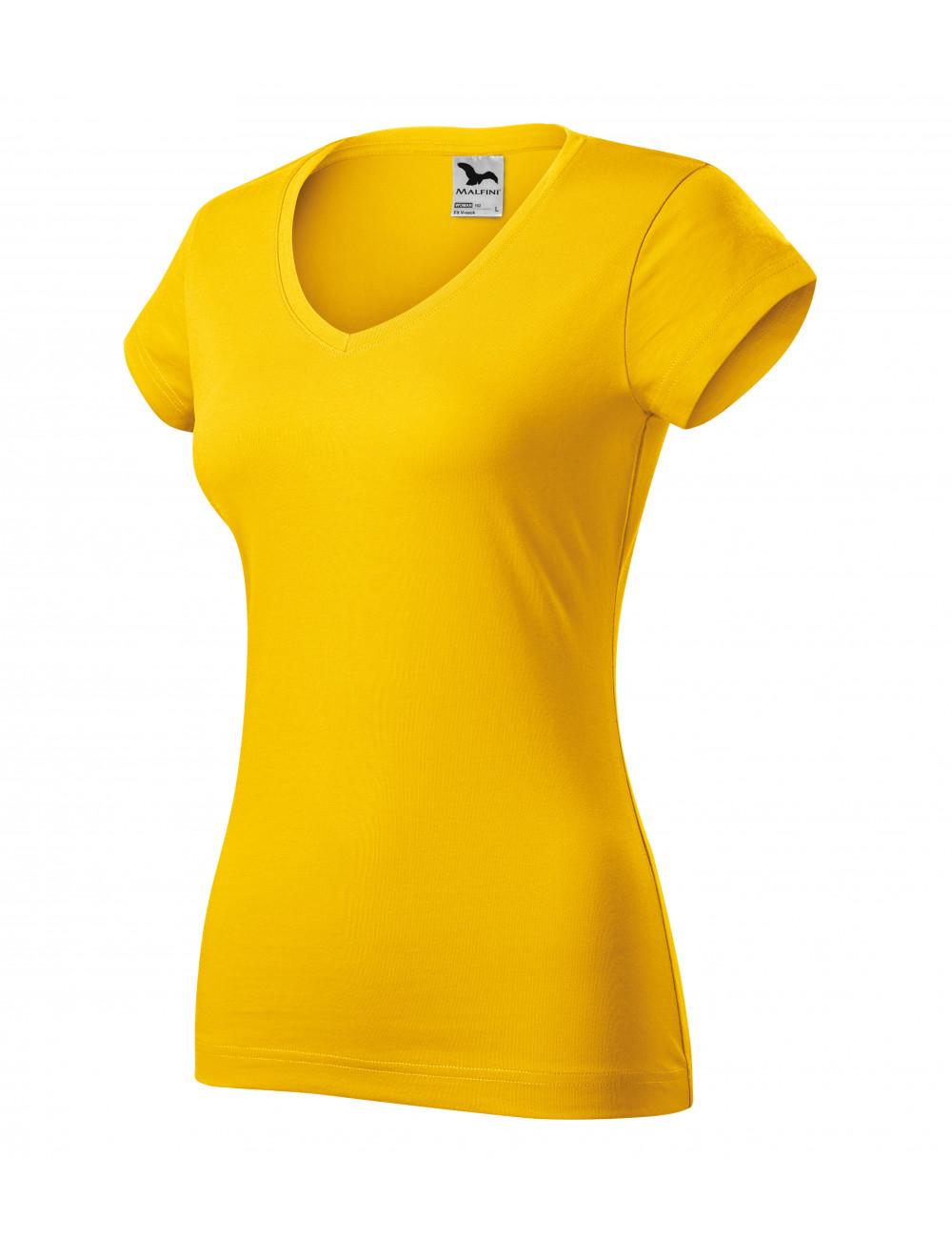 Adler MALFINI Koszulka damska Fit V-neck 162 żółty