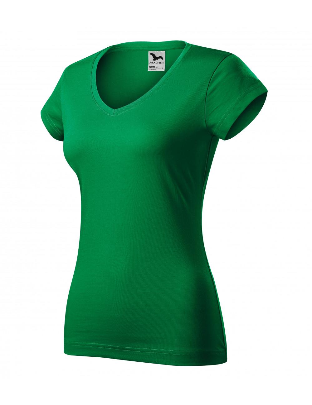 Adler MALFINI Koszulka damska Fit V-neck 162 zieleń trawy