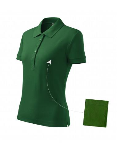 Adler MALFINI Koszulka polo damska Cotton 213 zieleń butelkowa