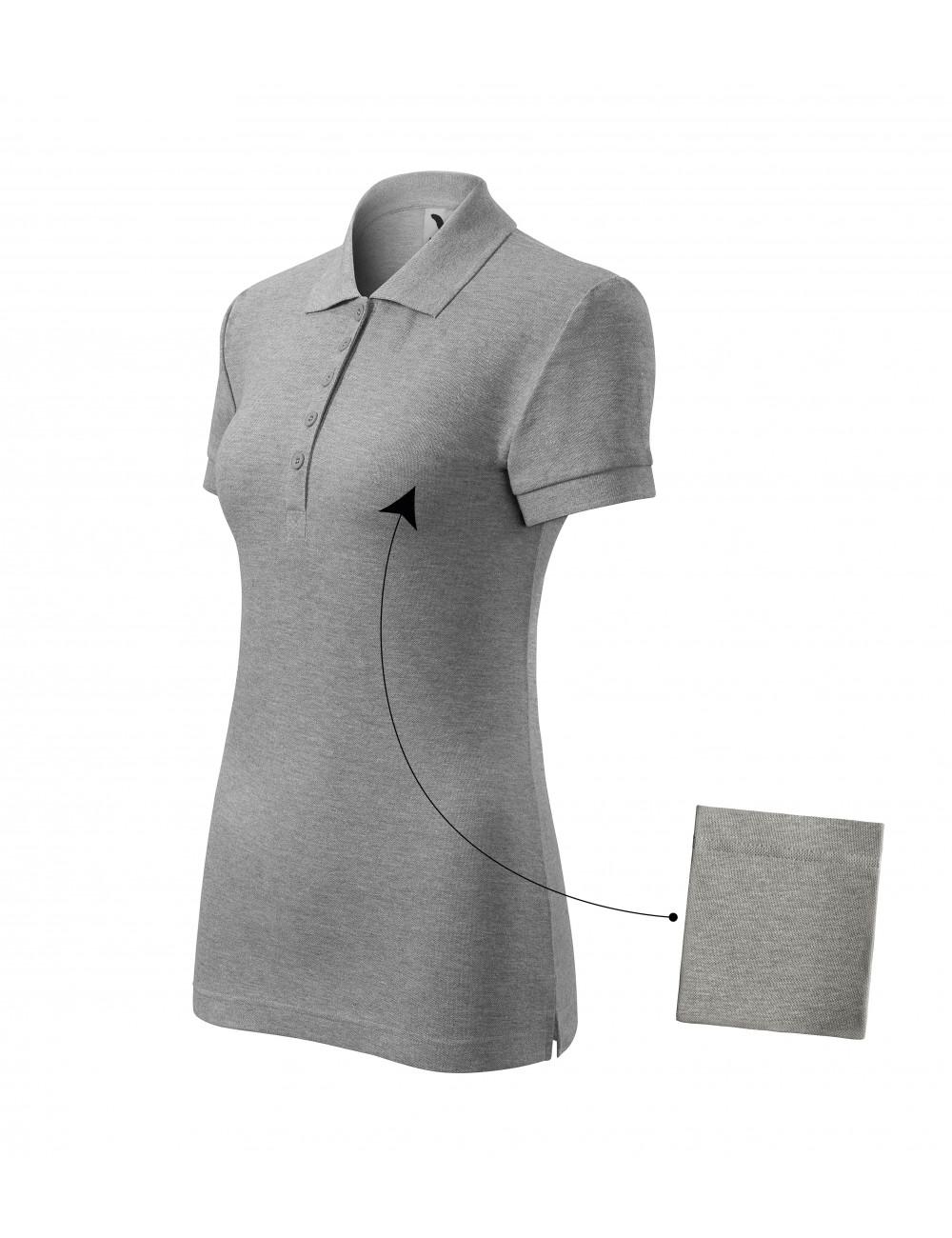 Adler MALFINI Koszulka polo damska Cotton 213 ciemnoszary melanż