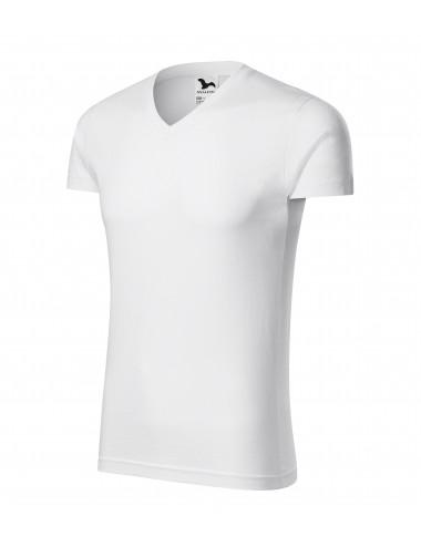 Adler MALFINI Koszulka męska Slim Fit V-neck 146 biały