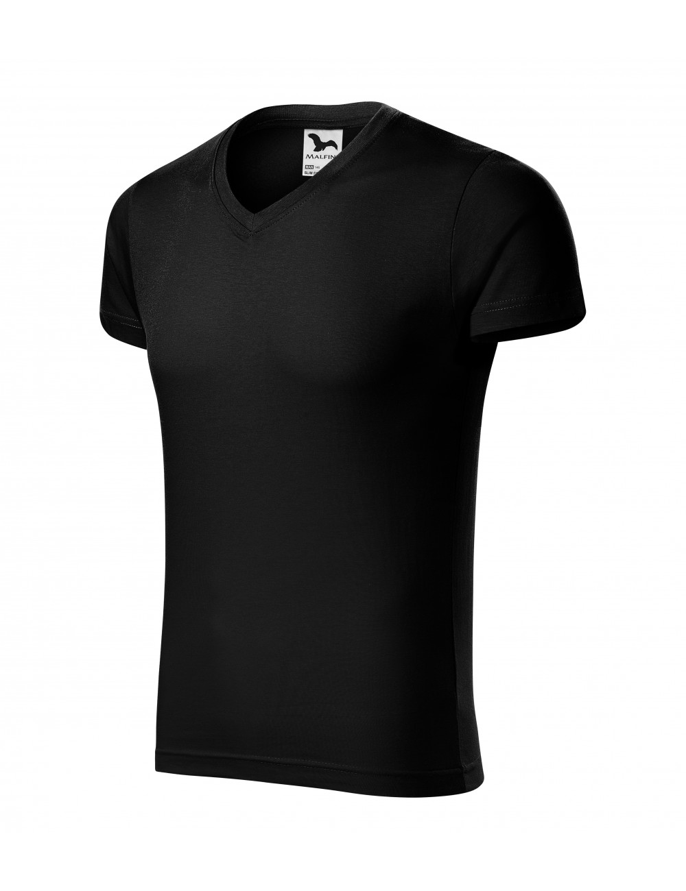 Adler MALFINI Koszulka męska Slim Fit V-neck 146 czarny