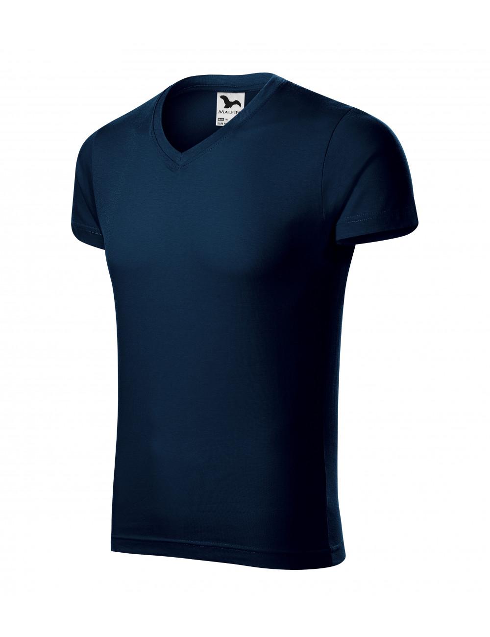 Adler MALFINI Koszulka męska Slim Fit V-neck 146 granatowy