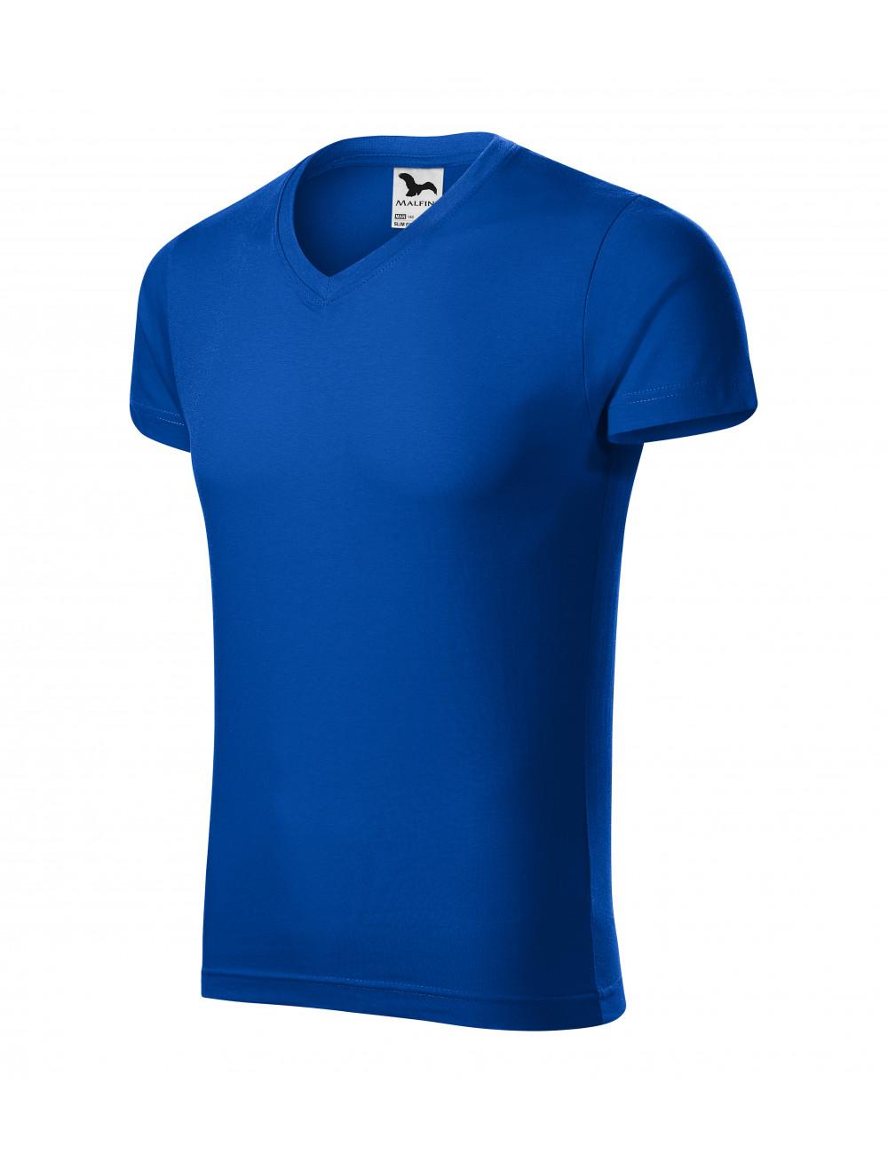 Adler MALFINI Koszulka męska Slim Fit V-neck 146 chabrowy