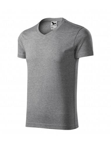 2Adler MALFINI Koszulka męska Slim Fit V-neck 146 ciemnoszary melanż