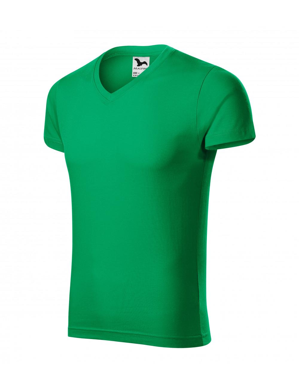 Adler MALFINI Koszulka męska Slim Fit V-neck 146 zieleń trawy
