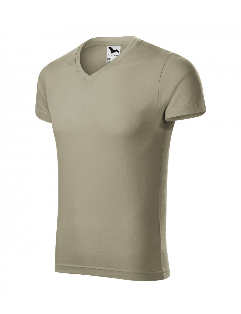 Adler MALFINI Koszulka męska Slim Fit V-neck 146 jasny khaki