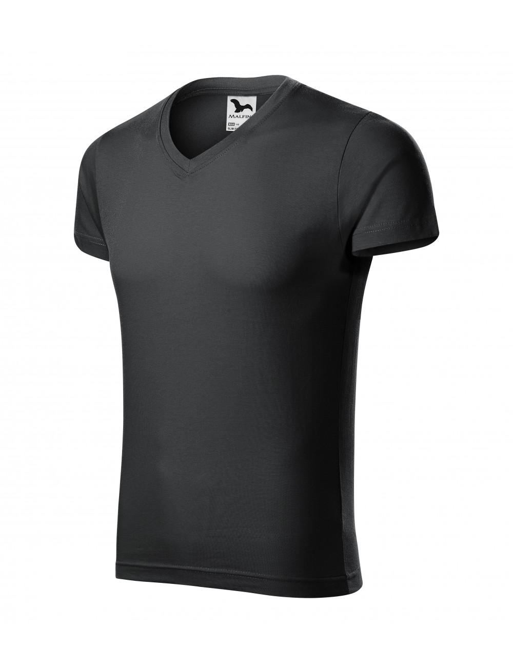 Adler MALFINI Koszulka męska Slim Fit V-neck 146 ebony gray