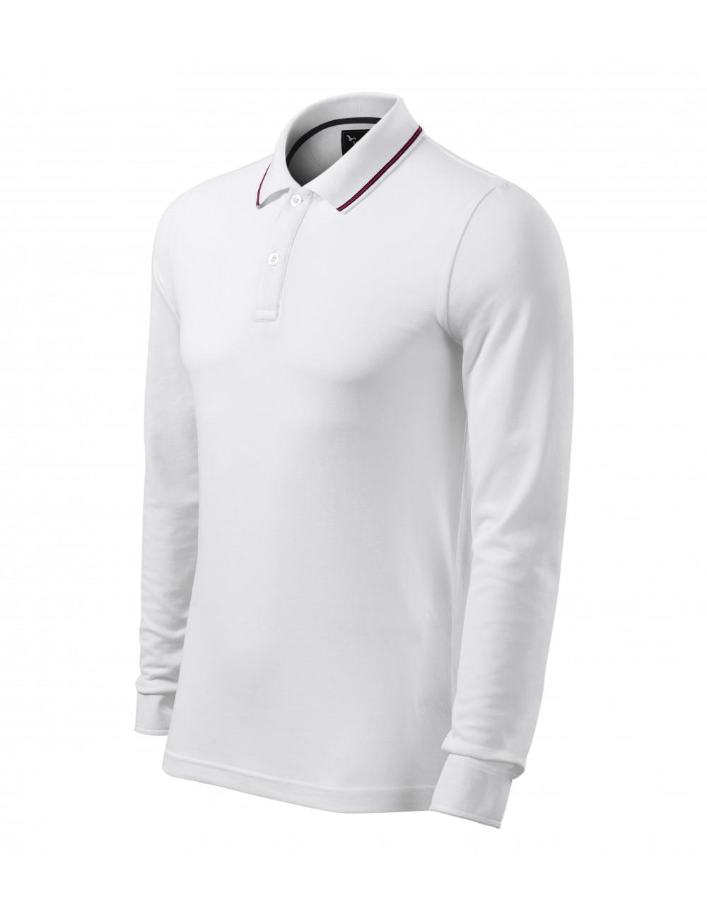 Adler MALFINIPREMIUM Koszulka polo męska Contrast Stripe LS 258 biały