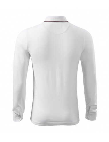 2Adler MALFINIPREMIUM Koszulka polo męska Contrast Stripe LS 258 biały