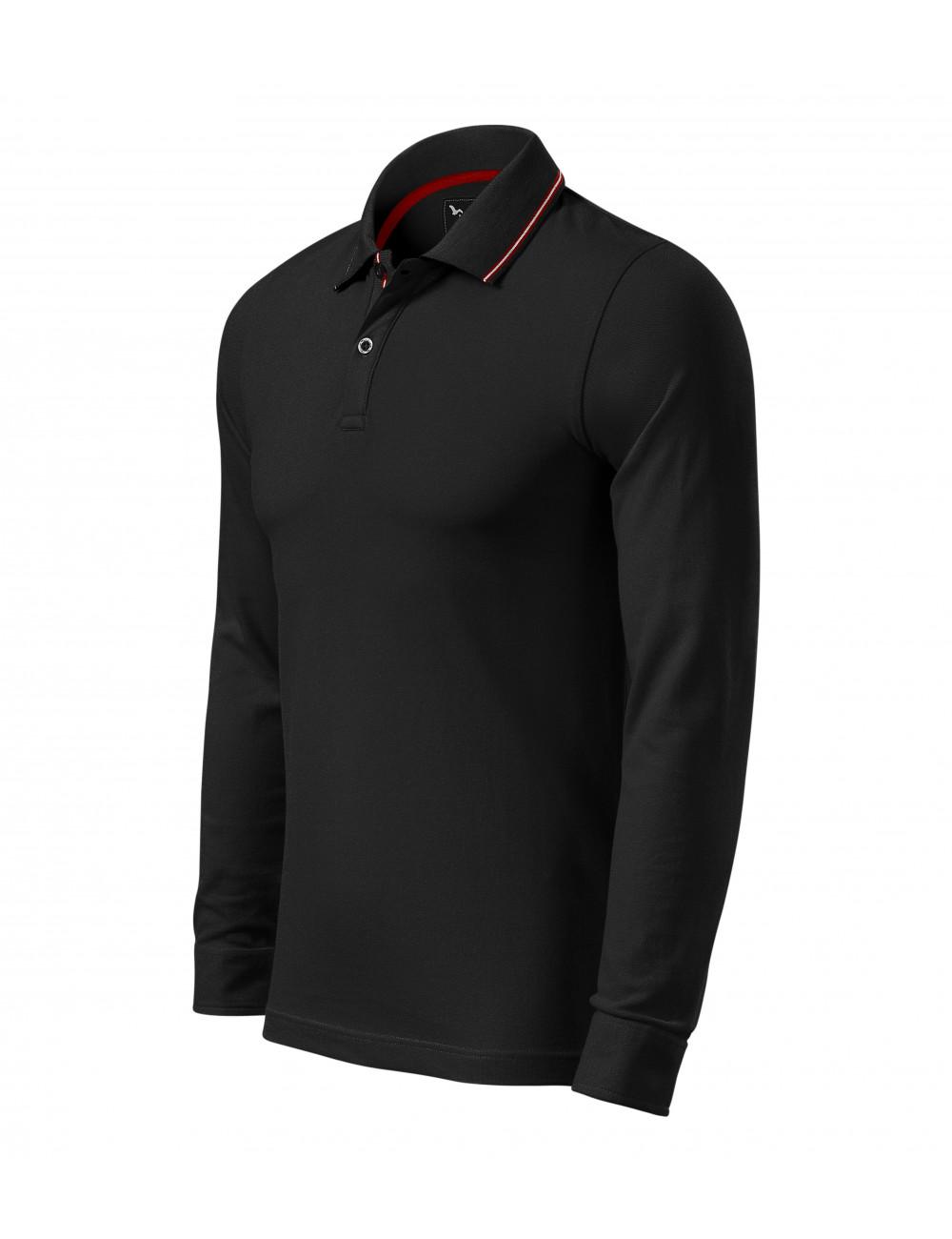 Adler MALFINIPREMIUM Koszulka polo męska Contrast Stripe LS 258 czarny