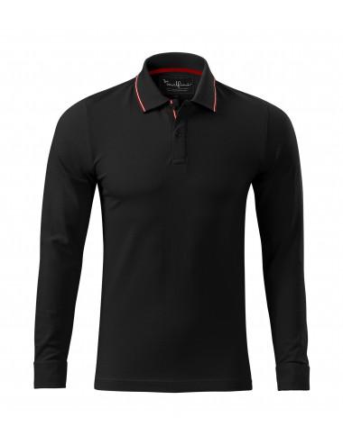 2Adler MALFINIPREMIUM Koszulka polo męska Contrast Stripe LS 258 czarny