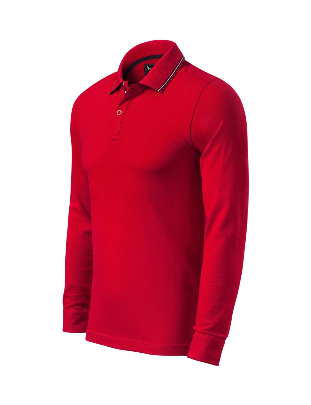 Adler MALFINIPREMIUM Koszulka polo męska Contrast Stripe LS 258 formula red