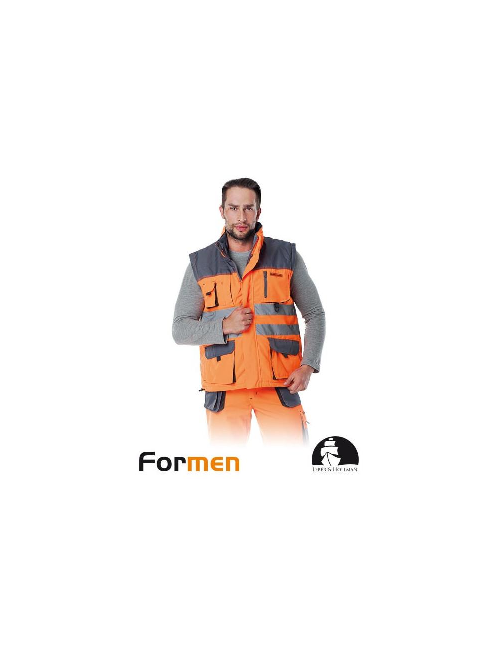 LEBER&HOLLMAN BEZRĘKAWNIK OCHRONNY OCIEPLANY LH-FMNX-V PSB POMARAŃCZOWO-STALOWO-CZARNY