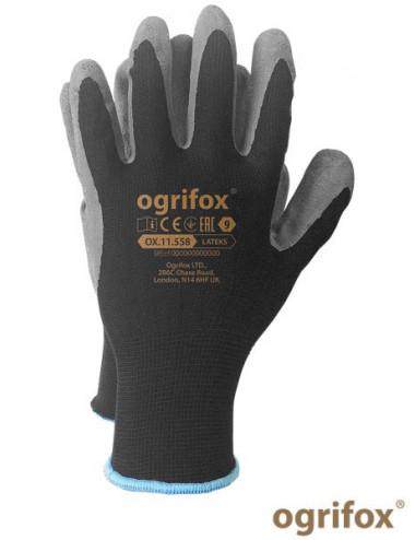 OGRIFOX RĘKAWICE OCHRONNE OX.11.558 LATEKS OX-LATEKS BS CZARNO-SZARY