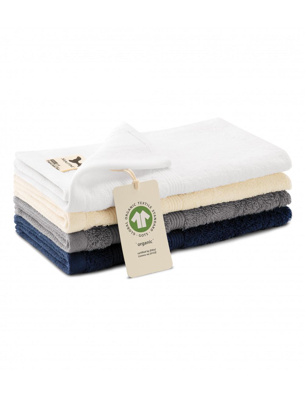 Adler MALFINI Ręcznik mały unisex Organic 916 szaroczarny melanż