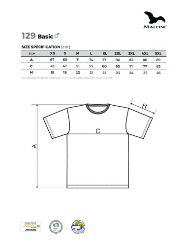 2Adler MALFINI Koszulka męska Basic 129 ebony gray