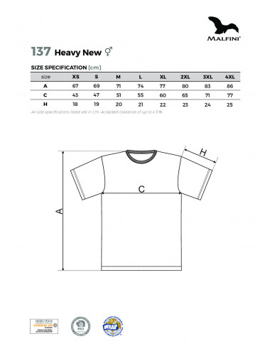 2Adler MALFINI Koszulka unisex Heavy New 137 żółty