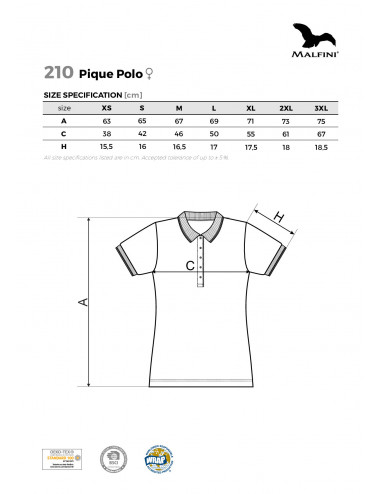 2Adler MALFINI Koszulka polo damska Pique Polo 210 czerwony
