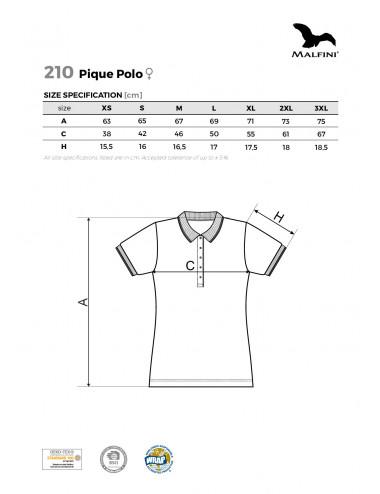 2Adler MALFINI Koszulka polo damska Pique Polo 210 czerwień purpurowa