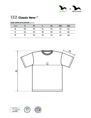 2Adler MALFINI Koszulka męska Classic New 132 jasny khaki