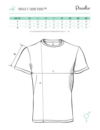 2Adler PICCOLIO Koszulka unisex Paint P73 turkus
