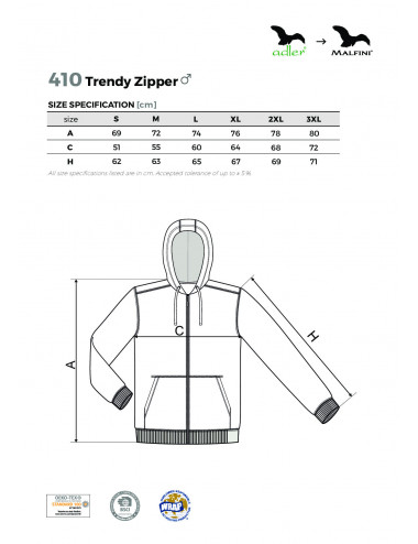 2Adler MALFINI Bluza męska Trendy Zipper 410 biały