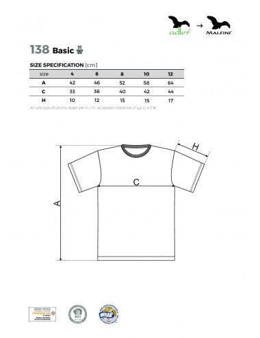 2Adler MALFINI Koszulka dziecięca Basic 138 czerwony