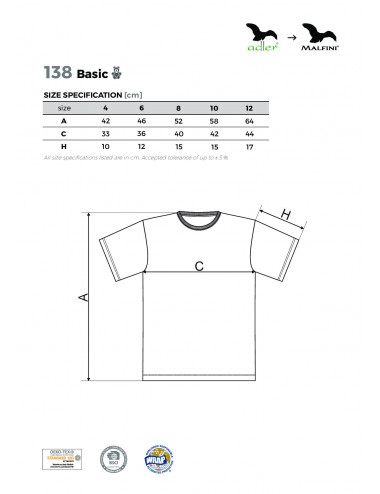 2Adler MALFINI Koszulka dziecięca Basic 138 turkus