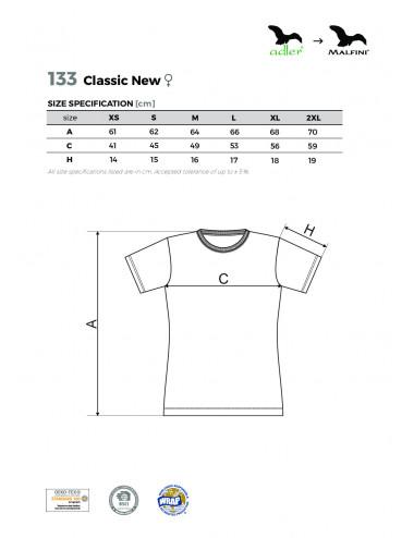 2Adler MALFINI Koszulka damska Classic New 133 biały