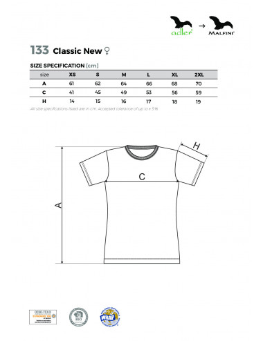 2Adler MALFINI Koszulka damska Classic New 133 zieleń butelkowa