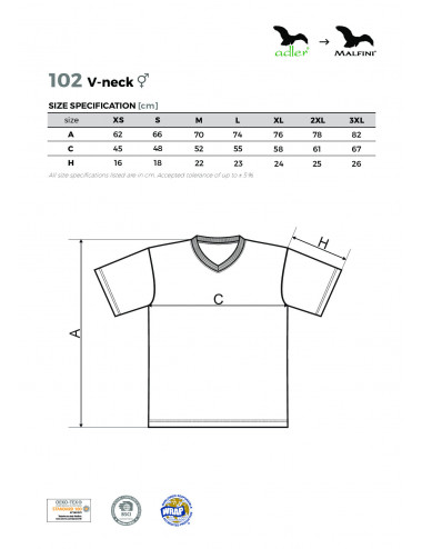 2Adler MALFINI Koszulka unisex V-neck 102 chabrowy