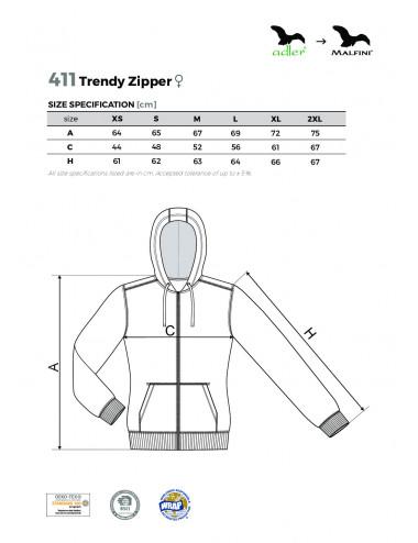 2Adler MALFINI Bluza damska Trendy Zipper 411 biały