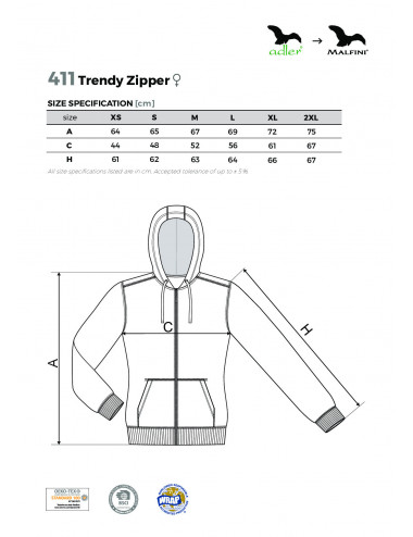 2Adler MALFINI Bluza damska Trendy Zipper 411 granatowy