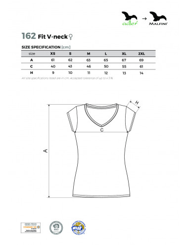 2Adler MALFINI Koszulka damska Fit V-neck 162 granatowy