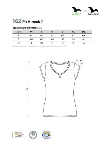 2Adler MALFINI Koszulka damska Fit V-neck 162 ciemnoszary melanż