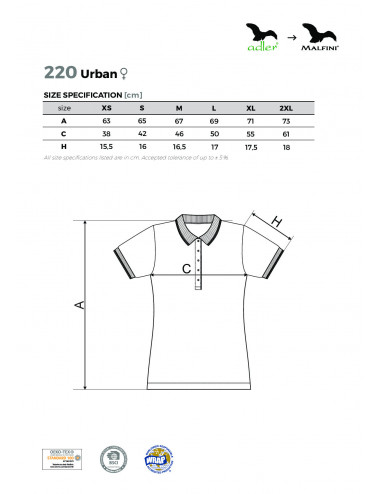 2Adler MALFINI Koszulka polo damska Urban 220 biały