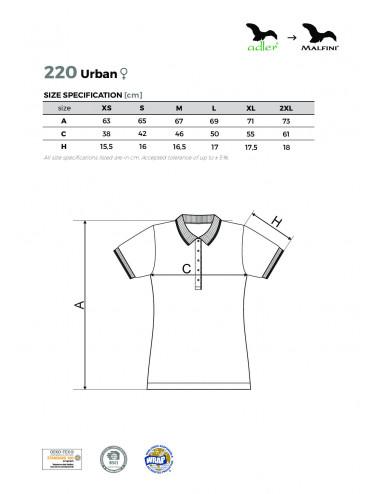 2Adler MALFINI Koszulka polo damska Urban 220 ciemnoszary melanż