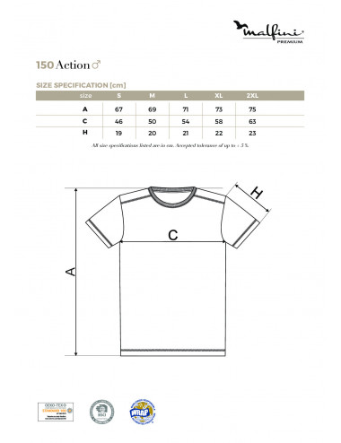 2Adler MALFINIPREMIUM Koszulka męska Action 150 biały