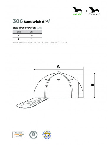 2Adler MALFINI Czapka unisex Sandwich 6P 306 zieleń butelkowa