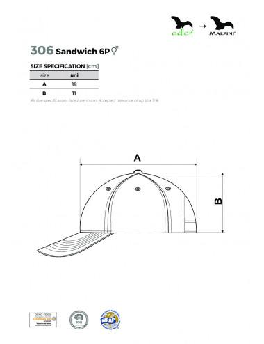 2Adler MALFINI Czapka unisex Sandwich 6P 306 biały