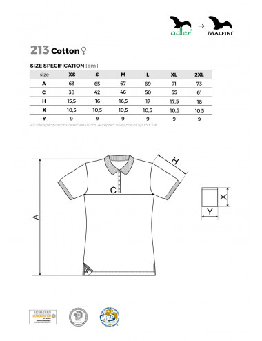 2Adler MALFINI Koszulka polo damska Cotton 213 ciemnoszary melanż