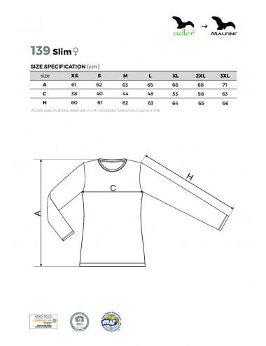 2Adler MALFINI Koszulka damska Slim 139 czerwień purpurowa