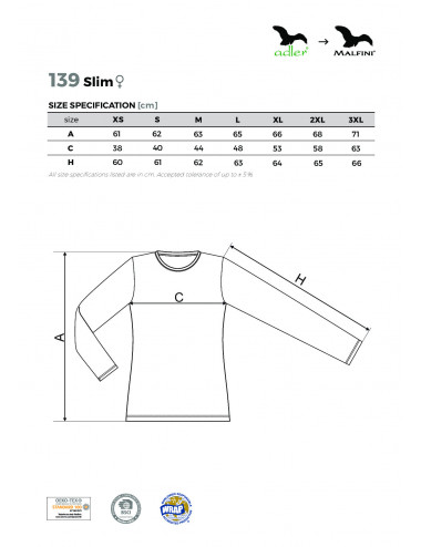 2Adler MALFINI Koszulka damska Slim 139 uksjowy