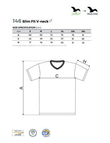 2Adler MALFINI Koszulka męska Slim Fit V-neck 146 biały