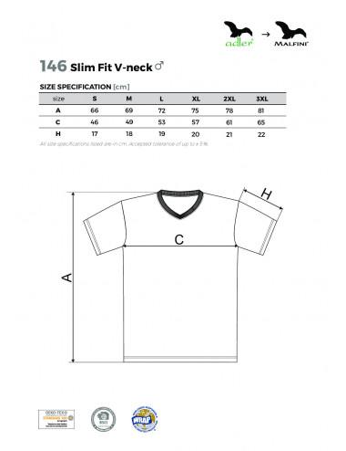 2Adler MALFINI Koszulka męska Slim Fit V-neck 146 chabrowy